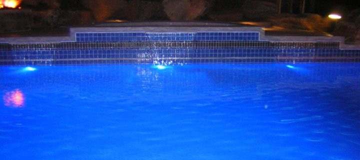 Swimming Pool Lighting and Water Falls, Highlands Ranch, CO