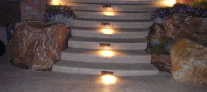 Stamped Concrete Decking and Stairs with Lighting, Highlands Ranch, CO