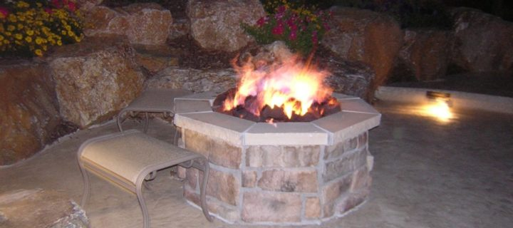 Gas Fire Pit and Stamped Concrete Decking, Highlands Ranch, CO