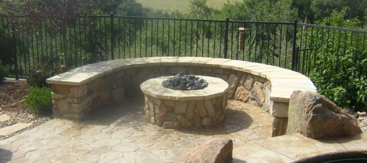 Gas Fire Pit, Seating Wall and Stamped Concrete, Daniels Park, CO