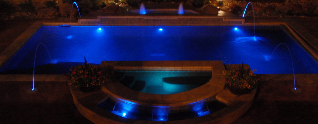 Pool with Water Features and Colored Lighting, Westminister, CO