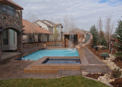 Pool/Spa Combo Grotto Water Feature, Custom Slide, Lone Tree, CO