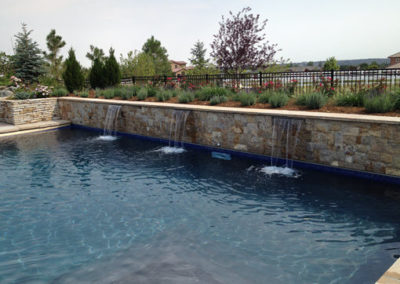 Custom Pool With Raised Bond Beam Veil Fall Water Feature - Broomfield, CO